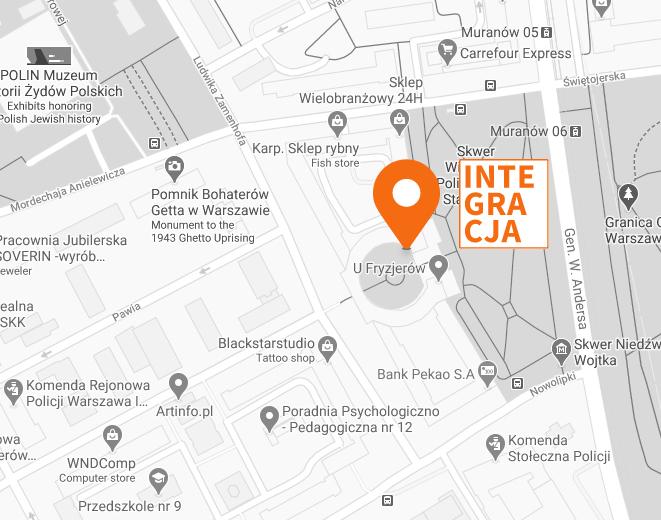Fragment planu Warszawy z zaznaczoną lokalizacją fundacji Integracja